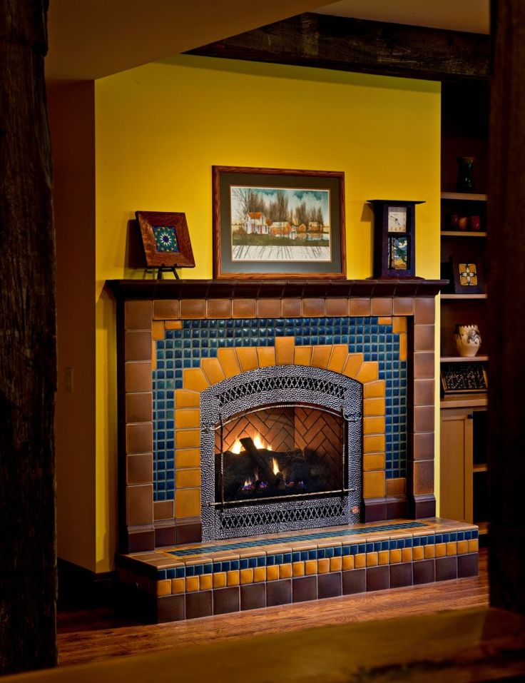 127 best images about tiled fireplaces tiled fireplace for Arts and crafts fireplace tile