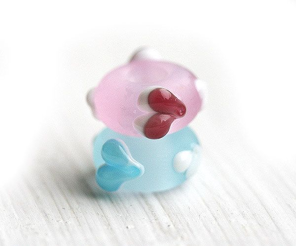 Heart beads, Romantic jewelry, European charms, True love, Blue glass beads, Lampwork large hole beads, Heart Jewelry, European style by MayaHoneyJewelry on Etsy