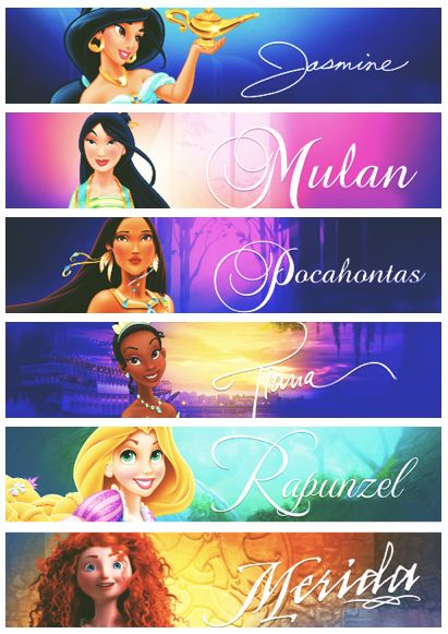 Disney princesses: stand for yourself like jasmine, stand in the place of others like Mulan, listen to others and be accepting like Pocahontas, work hard like Tiana, follow your dreams like Rapunzel, and be brave and courageous like Merida
