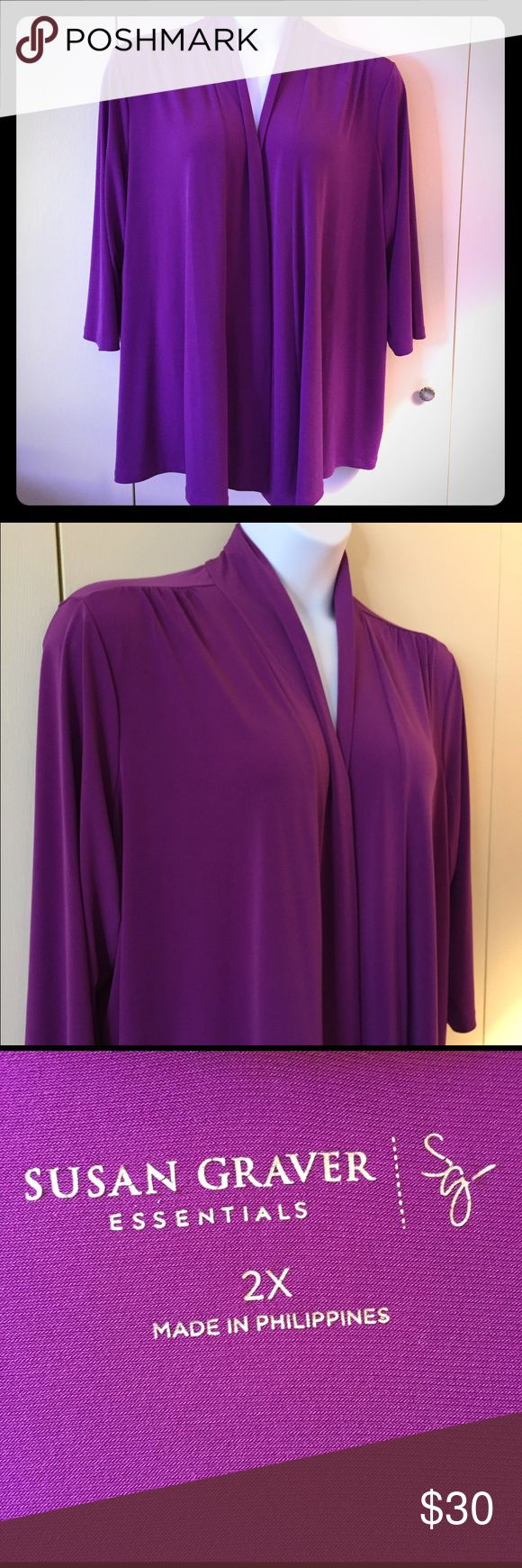 Fuschia Susan Graver Liquid Knit cardigan Gorgeous Susan Graver Essentials Liquid Knit cardigan in fuchsia pink. So classic for the office or dress it up for a night out. Poly/spandex blend in size 2X Susan Graver Sweaters Cardigans