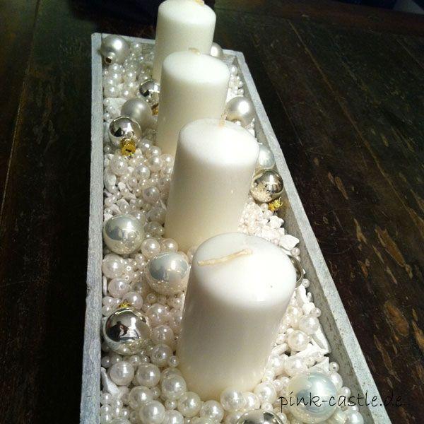 DIY schnelles Adventsgesteck / quick Advent chandle Decoration Easy Tutorial at www.pink-castle.de