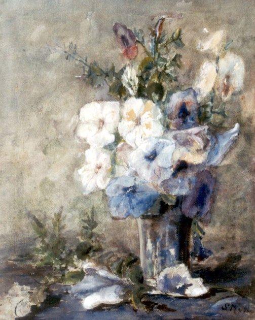 Sina 'Sientje' Mesdag-van Houten Groningen 1834-1909 Den Haag Bloemstilleven, aquarel op papier 56.4 x 43.9 cm., gesigneerd r.o. met initialen