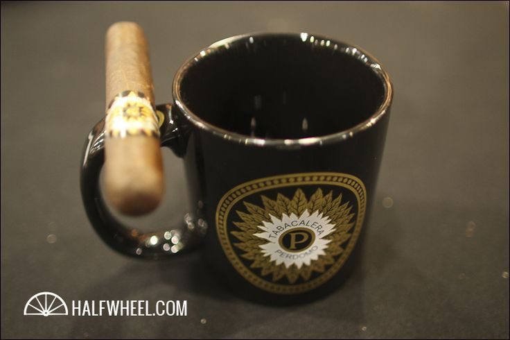 Perdomo Coffee Mug, with cigar holder incorporated into the design!: