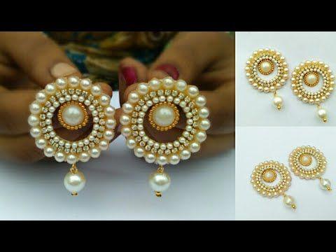 How To Make Pearls Designer Earrings   Paper Earrings   Jewellery Making DIY+earring(earring)diaries - YouTube