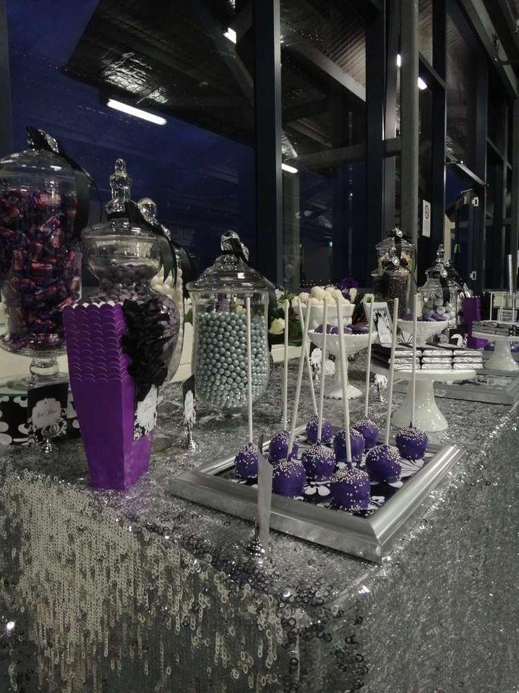 black white purple wedding reception%0A Purple  Black  White and Silver Birthday Party Ideas