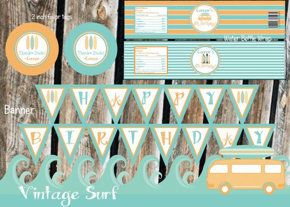 VIntage Surfer BOY Birthday Party Pack  by Partyperfectdesign, $20.00