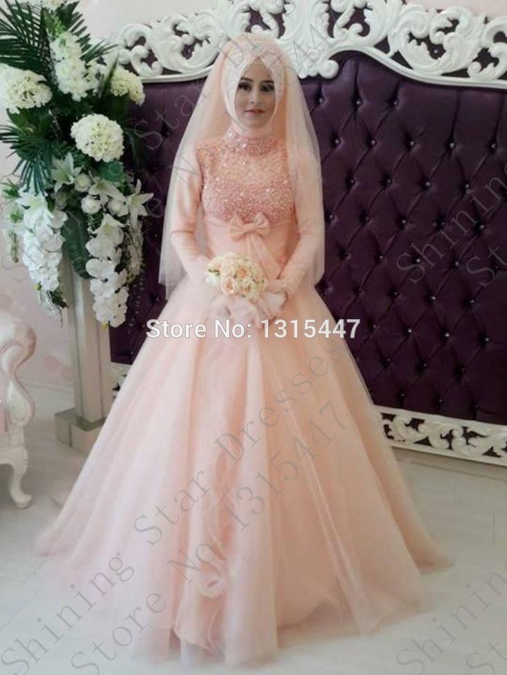 Romântico Tulle manga comprida muçulmano rosa luz Vestidos De casamento 2016 frisada Sexy Vestidos De noiva com Hijab Vestidos De Novia em Vestidos de noiva de Casamentos e Eventos no AliExpress.com | Alibaba Group