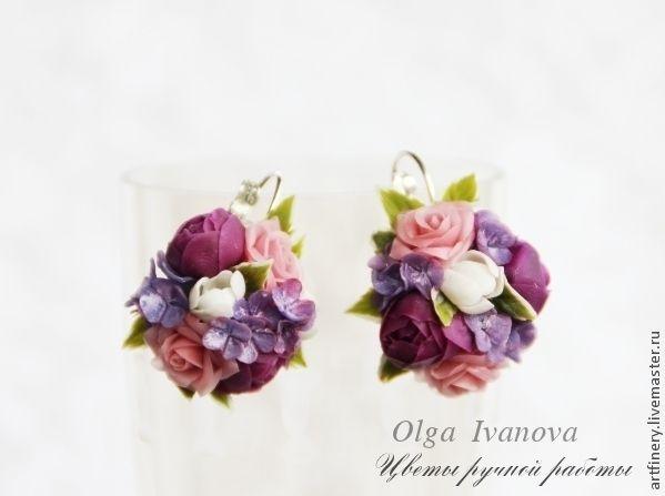 """Купить Комплект украшений """"Амелия"""" - фиолетовый, миниатюра, серьги с цветами, кольцо, кольцо с цветком, лиловый"""