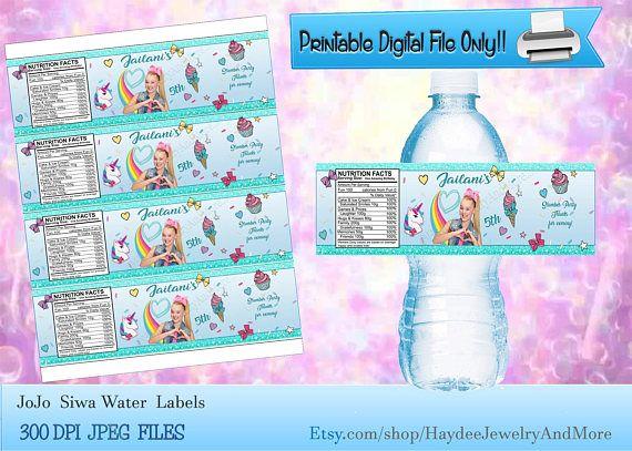 8e5b883df8 JoJo Siwa Water bottle labels- Etiquetas JoJo Siva Para Botella de ...