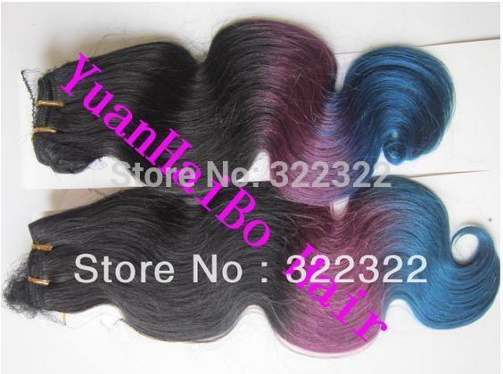 Высочайшее качество 6а класс 1b/фиолетовый/синий три тона ломбер цвет бразильский 100% девственницы ломбер уток волос бесплатная доставка
