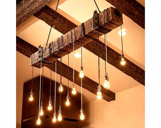 Natural Wood Beam Chandelier Ceiling Lighting Fixture With 8