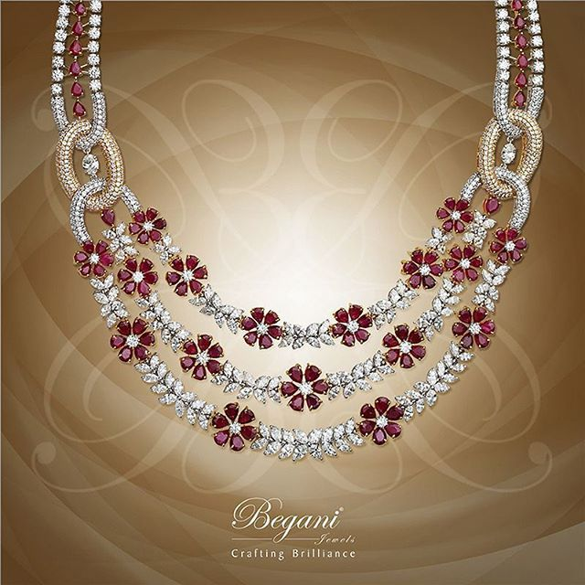 Intricately stringed Ruby and Diamond necklace #beganijewels #begani_jewels #ruby #diamond #necklace #accessories #accessories #bling #jewelry #jewels #beautiful #style #amazing #love#high# jewellery#luxury