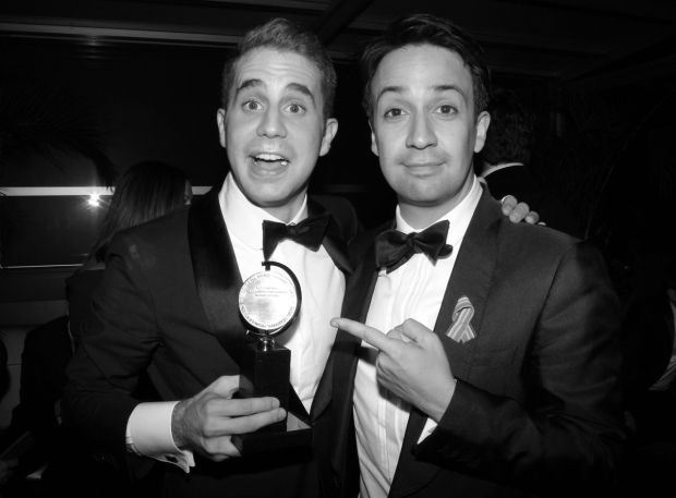 Lin-Manuel Miranda helps Ben Platt show off his Tony Award at the Dear Evan Hansen party at the Empire Rooftop.