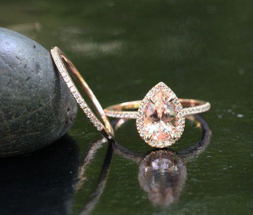 Morganite Engagement Ring Diamond Wedding Ring Set in 14k Rose Gold 9x6mm Pi