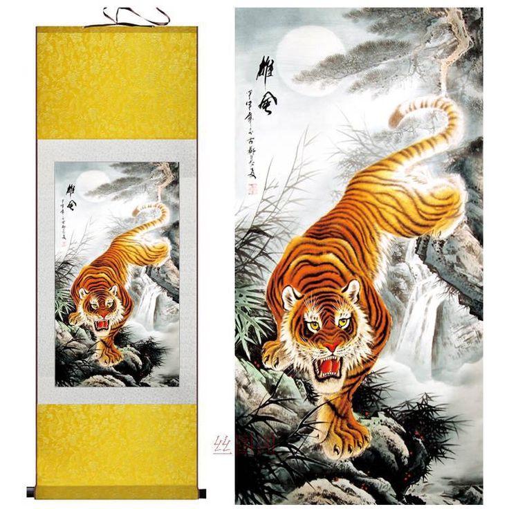 Aliexpress.com: The World Of Color üzerinde Güvenilir traditional chinese painting tedarikçilerden Ev Dekor Ipek Boyama geleneksel Çin resim suluboya mürekkep Hayvan Kaplan dekoratif kaydırma boyama Satın Alın