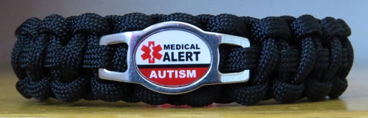 Handmade Autism Medical Alert Paracord Bracelet w/Metal Buckle. $14.95