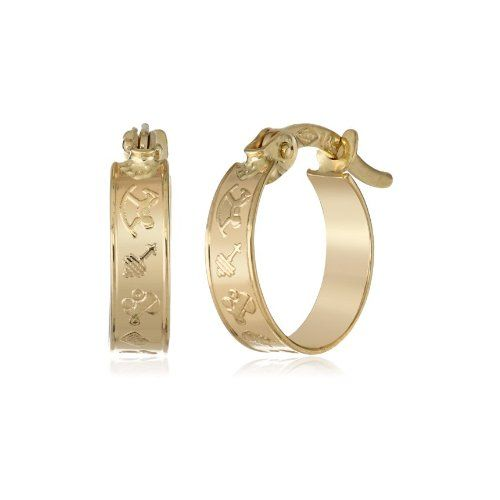 14k Yellow Gold Nursery-Design Huggies Hoop Earrings - $74.63