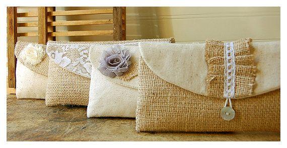 bag burlap lace wedding clutch set 6 rustic cotton linen bag purse Personalize Bridesmaid party etsy Custom Pouch gift MakeUp