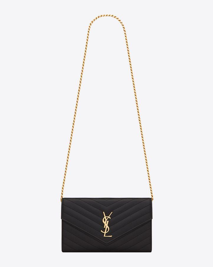 Saint Laurent Monogram Saint Laurent Chain Wallet In Black Grain ...