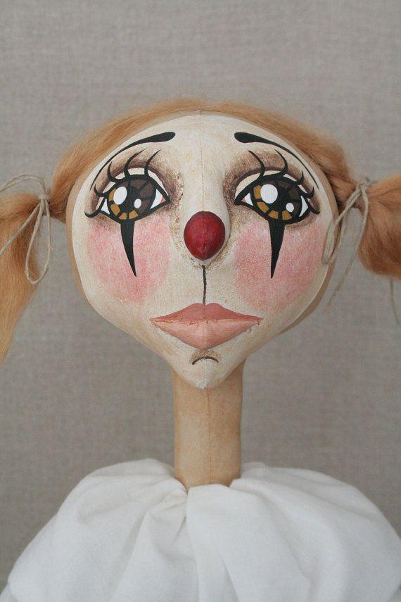 Primitive Sweet Pink Clown Folk Art Doll by Miller Campbell