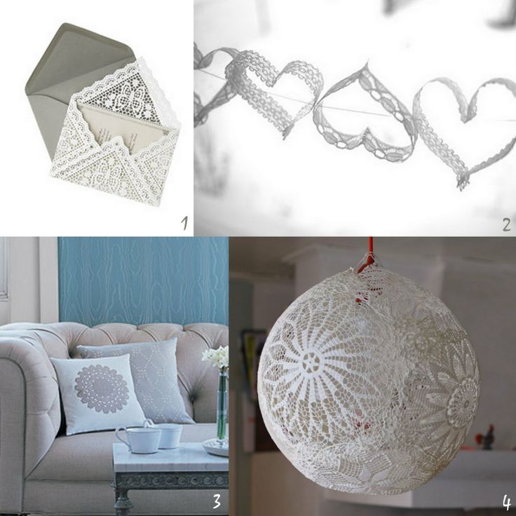 Oh the lovely things: DIY Roundup - Lace and DoiliesLace Projects, Doilies Crafts, Ideas, Lace Doilies, Diy Roundup, Lace Envelopes, Things To Do, Diy Projects, Lace Crafts