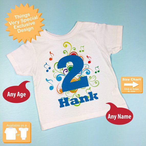 Birthday Boy Shirt  Music Themed 2nd Birthday by ThingsVerySpecial