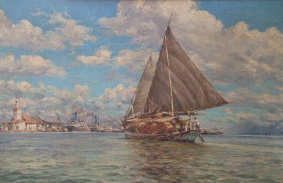 Willem van der Does - Scheepvaart in de haven van Soerabaja