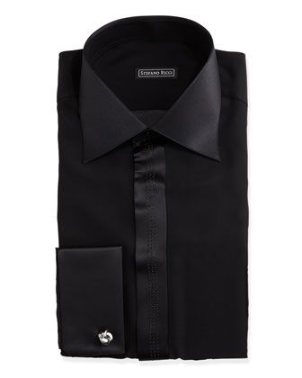Satin-Trimmed Tuxedo Shirt, Black  by Stefano Ricci at Neiman Marcus.