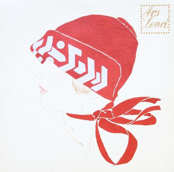 Dibujo a lápiz sobre papel. Diseño de moda de Ars Lenci (Art Déco, 1920-1925)