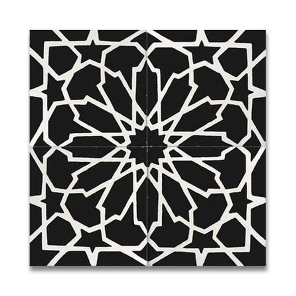 Bahja White and Black Handmade Moroccan 8 x 8 inch Cement and Granite Floor or Wall Tile (Case of 12)
