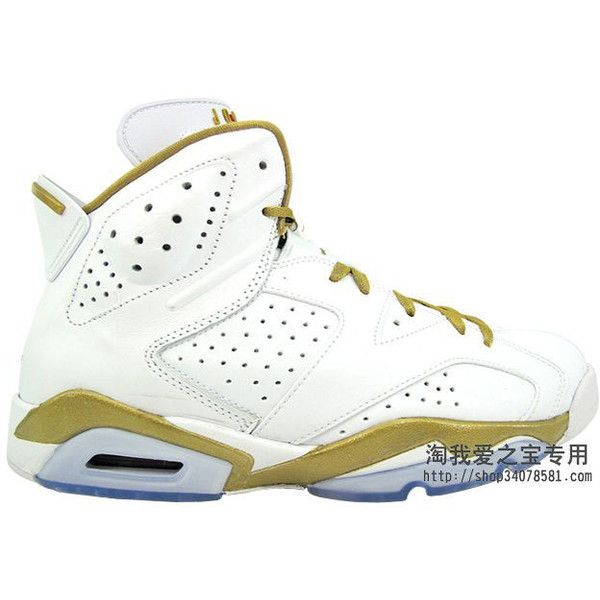 sports shoes 39c78 369a7 ... White Gold  Air Jordan 6  Air Jordan Retro 6 - Golden Moments Pack    Sole Collector ❤ liked on Polyvore featuring  Air Jordan 6 Pinnacle Metallic  ...