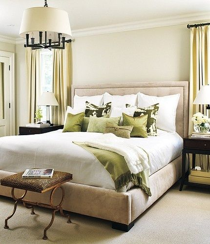 Bedroom inspiration - great neutrals (taupe, ivory, linens ...) with green tone splashes. A nice combination.