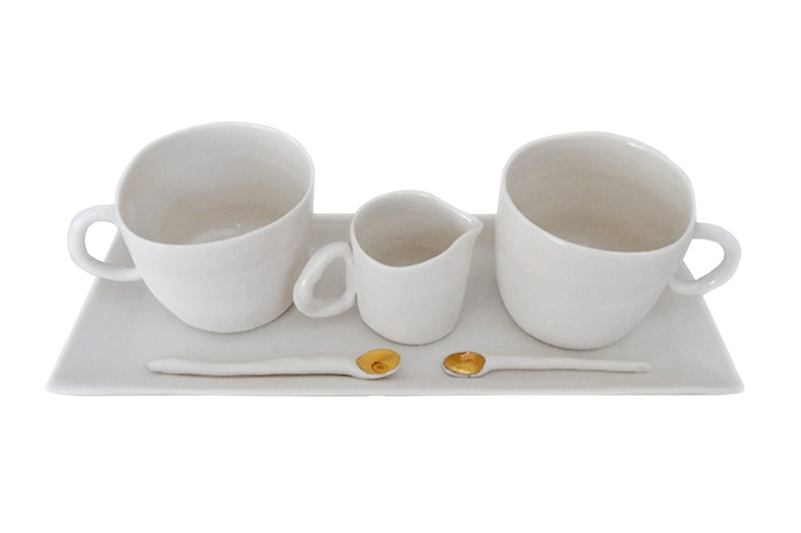 White Padelline porcelain coffee set by Potomak