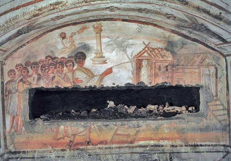 RÉSURRECTION DE LAZARE / FRESQUE V. 320–350. Rome (Italie), Catacombe di via Latina, Catacomba di Via Dino Compagni (découvert en 1955), Cubiculum O, niche de gauche.  Résurrection de Lazare et Moïse recevant les tables de la Loi.  Peinture murale, art paléochrétien, v. 320/350.