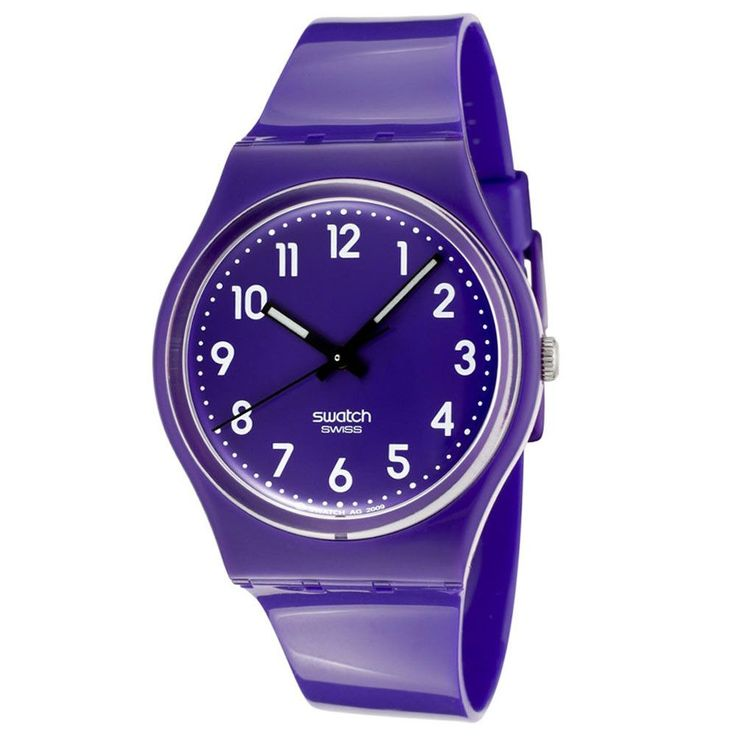 Swatch GV121 Unisex Callicarpa Purple Dial Purple Plastic Strap Watch
