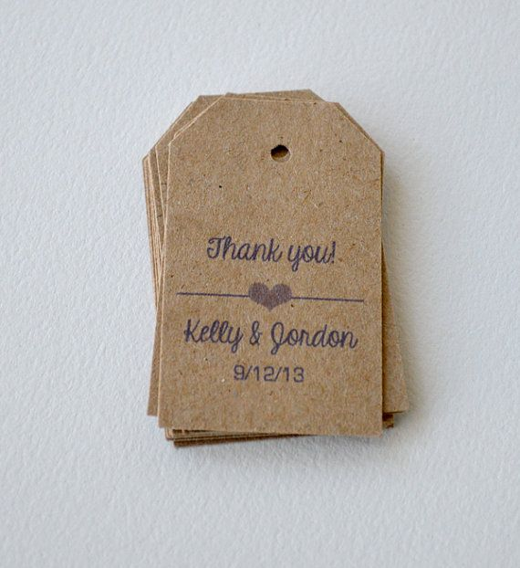 100 Kraft Brown Small Label Tags - Custom Wedding Favor & Gift Tags - Choice of Colors - Thank You Heart Kraft