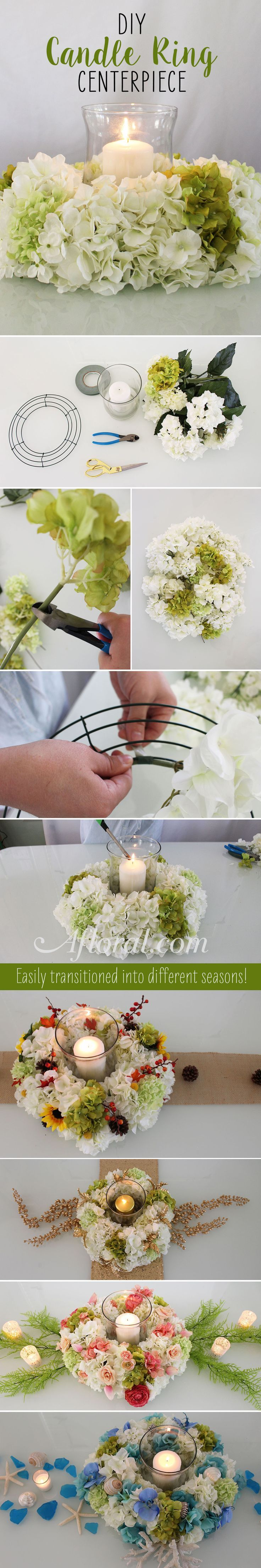 DIY Hydrangea Candle Ring Centerpiece.  Create this gorgeous hydrangea centerpiece with a wire wreath form and silk hydrangeas and decorate with your favorite silk flowers for every holiday!  Find everything you need at http://Afloral.com.
