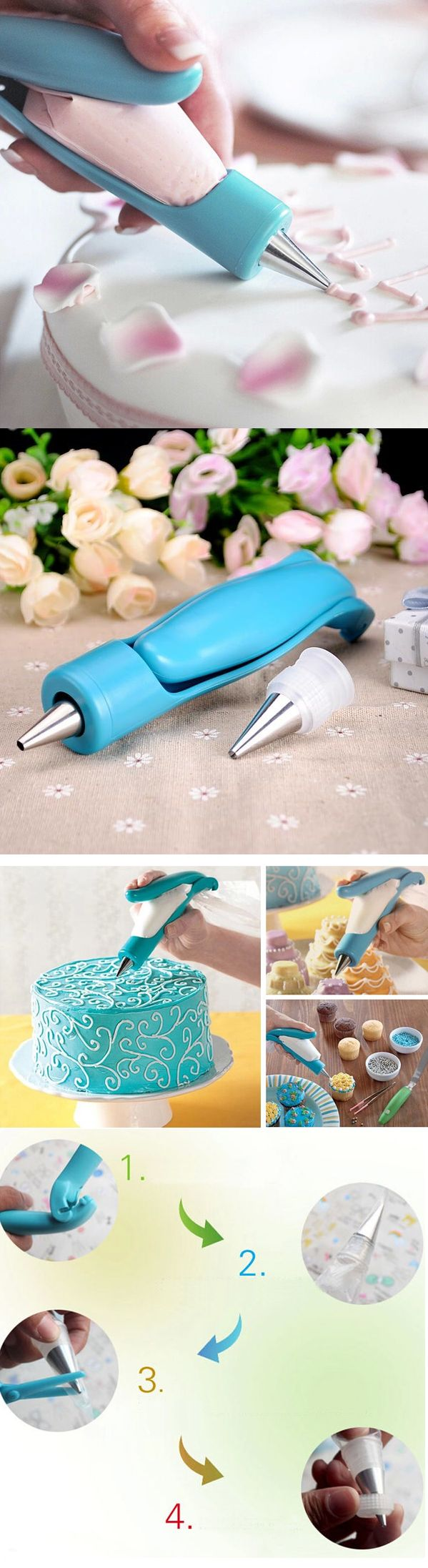 US$5.88 E-Z Deco Icing Pen Nozzle Manual Crowded Cream Cake Piping