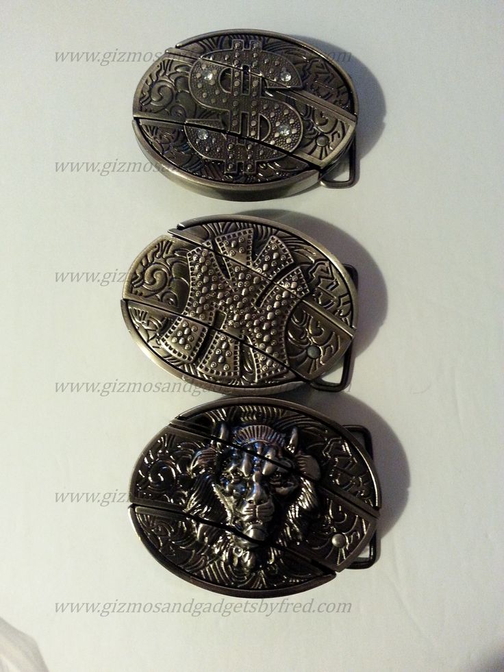 Hip Hop Belt Buckles. Versace lion style model, NY model and $ model. Removable Small pocket knife in the middle. Novelty. www.gizmosandgadgetsbyfred.com
