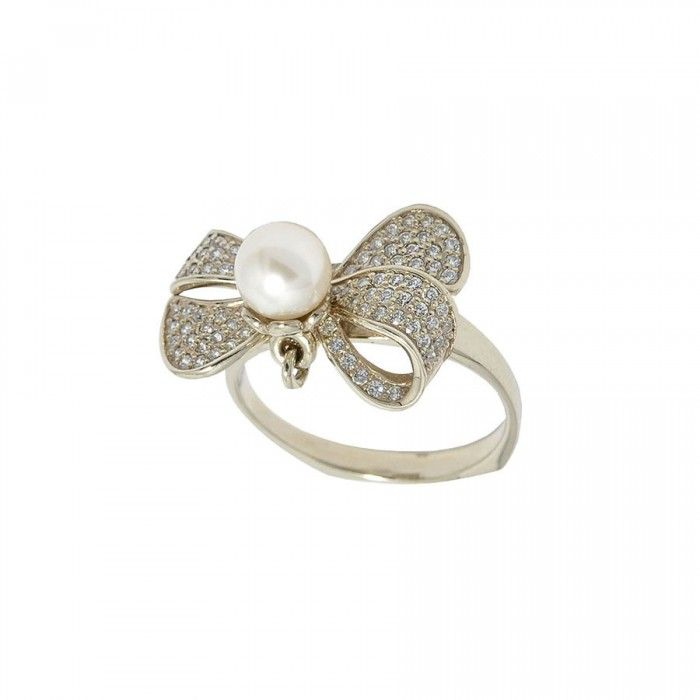 Bow Ring In 14k Gold With Pearl & CZ.  Shop at our jewelry online store. | www.Sapphire-Jewelry.ca