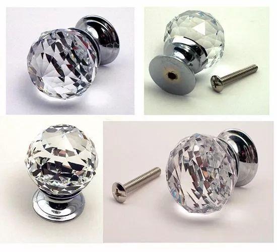 puxador maçaneta de cristal 30 mm para gavetas e móveis
