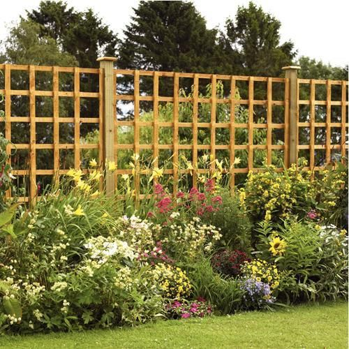 Wickes Square Lattice Trellis Fence Panel Autumn Gold 1.83 X 1.83m. Garden  FencesGarden TrellisDecorative ...