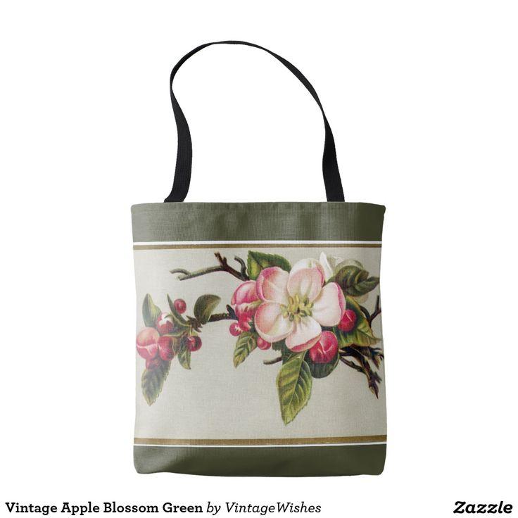 Vintage Apple Blossom Green Tote Bag