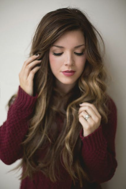 ombre curled locks + wine colored sweater.