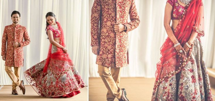 A beige lehenga with mirror work and red floral embroidery by JADE by Monica & Karishma for Bride Afee Shah of WeddingSutra. Photos Courtesy- Cupcake Productions