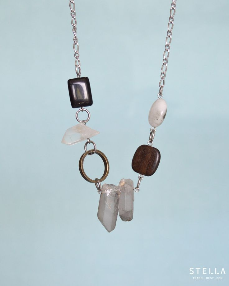 Crystal Point Quartz Short Necklace, Ebony Wood, Semiprecious Stone, Stainless Steel. Brass Circle. Gift For Women. Asymmetrical Necklace by StellaIsabelDesy on Etsy https://www.etsy.com/transaction/1390508852