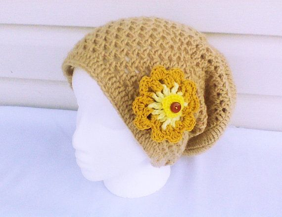Hey, I found this really awesome Etsy listing at https://www.etsy.com/listing/195972829/tan-crochet-beanie-with-flower-hand