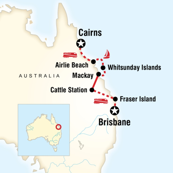 Map of the route for Brisbane to Cairns Experience (G Adventures)