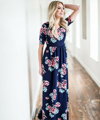 Such a popular maxi dress, this modest dress is much loved for it's soft fabric, flattering elbow length sleeves, high neckline and stretchy fabric. The Miranda in pink/blue is available online at Omika.