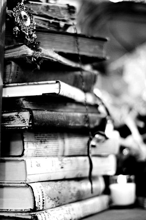 Staked books black white